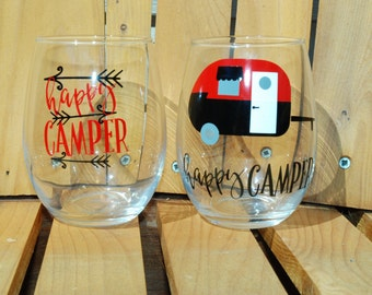 Happy Camper   Wine Glass   Retro Camper   Glamping Glass   Camping Wine Glass   Glamping Wine Glass   Camping Wine Glass   Glamping Gift