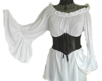 Renaissance Blouse White Chemise Pirate Medieval Peasant Top Steampunk Bell Sleeve Off Shoulder Long Sleeve S - XL