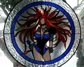 Stained Glass Warrior Woman circular Window Panel