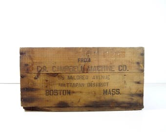 Vintage Wood Crate / D.R. Campbell Machine Company Industrial Wooden Crate / Industrial Decor