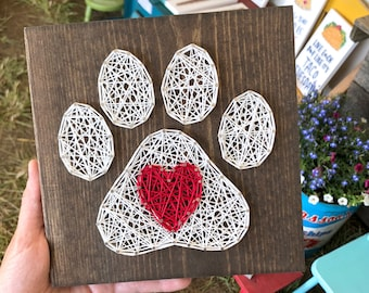 """READY TO SHIP String Art Paw Print and Heart Sign 