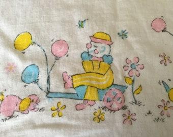 Vintage BABYCARE Pastel Clowns & Puppies Receiving Blanket Security Blankie Lovey