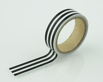 Black & White Vertical Stripe Washi Tape // 15mm // Paper Tape // BBBsupplies {CR-W-S002}