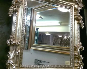 French Shabby Chic Vintage Champagne / Antique Silver Ornate Mirror 107x76cm New