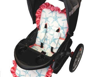 Starfish Stroller Liner- Reversible to Coral Minky