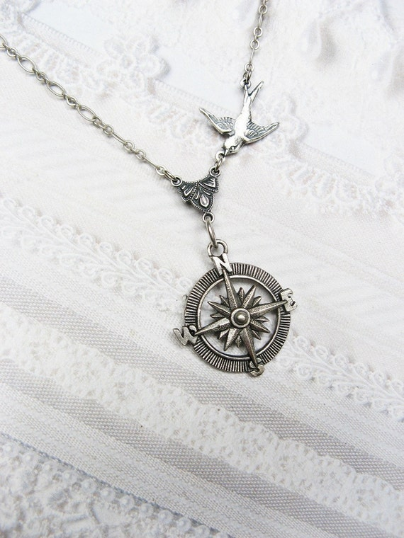 Silver compass necklace graduation silver guidance aloadofball Image collections