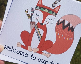 Adoption day card welcome to our tribe fox picture | new baby card | congratulations | new parents | new mom | new dad | new mum | bear |
