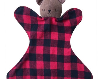 Baby Bear Lovey Rattle Blanket Toy - Sleepy Brown Bear - Red and Black Buffalo Check Flannel - Chocolate Brown Minky - Boy or Girl Baby Gift