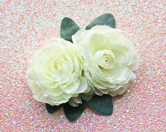 Pinup Hair Flower, Ivory Hair Flower, Floral Headpiece, Ranunculus Hair Clip, Double Hair clip, Rockabilly Flower, White Hair Flower, Spring