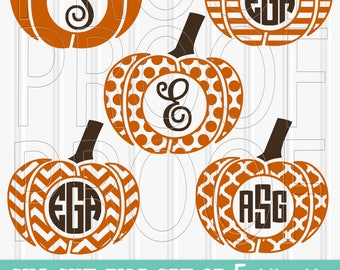 Monogram SVG Files Set of 5 cutting files includes svg/png/jpg formats! Commercial use approved! (No letters included) pumpkin svg monogram