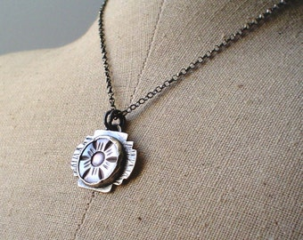 Vintage Carved Smoky Mother of Pearl Flower Pendant in Sterling with Rolo Necklace Jewelry