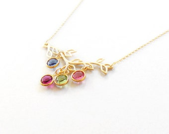 Family Birthstone Necklace Personalized Gold Filled Chain Family Tree birthstone Necklace gift  Birthday gift new mom gift Mothers day gift