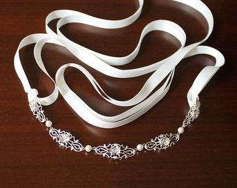 Ginnifer Bridal Headband, Wedding Headpiece, Bridesmaid Headband, Vintage style Bridal Headpiece, Ribbon Headband, Bridesmaid Hair Accessory