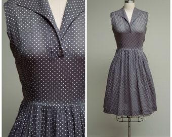 Vintage 1950s Dress • Slate Street • Grey White Polka Dot 50s Day Dress with Full Skirt Size Medium