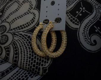 Vintage Joan Rivers Opal Pierced Hoop Earrings