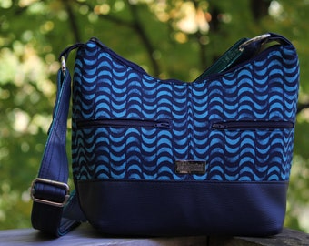 Hosta Hobo Bag (Small sized) in Lavish fabrics by Katarina Roccella with navy vinyl accents