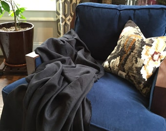 Black Linen Classic Throw - Industrial Bedding - Made to Order in the USA