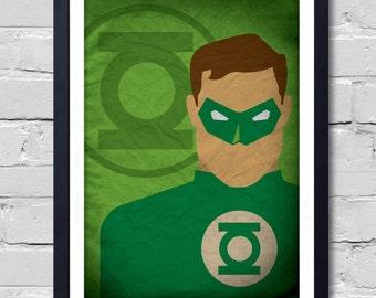 Green Lantern Poster watercolor home decor wall decor art poster & Green lantern art | Etsy