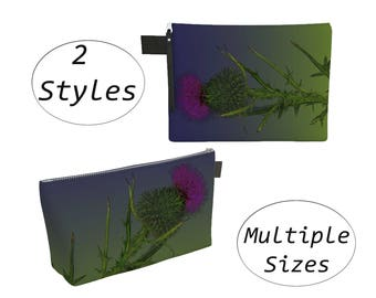 Thistle Floral Pouch Carry All, Zippered Clutch, Large, For Makeup Cosmetics Toiletry Laptops Tablet, Diapers Travel Carryall, Purple Green