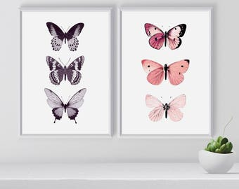 Set of Butterflies Art Prints, Butterfly illustration, Wall Art Printable, Set of 2 Art Prints, Room decor, Christmas gift, Gift for Her