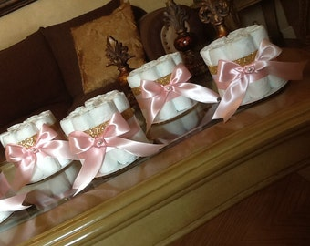 Pink and gold mini diaper cake set of 6 baby girl light pink  and gold mini diaper cakes/ baby shower centerpieces.