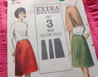 Vintage Butterick Pattern 3509, Easy Skirt Pattern, A Line Skirt Pattern, 60's Skirt Pattern, No Waistban Skirt, Uncut Pattern
