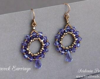 Beaded Earrings Tutorial - Peacock Earrings - Swarovski Earrings - Beading Tutorial - Digital Download