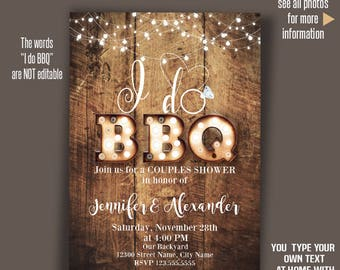 I do bbq Invitation, Rustic wood and lights, Printable wedding templates, Instant Download Self editable PDF A2005