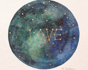 "original mini painting ""galactic love"""