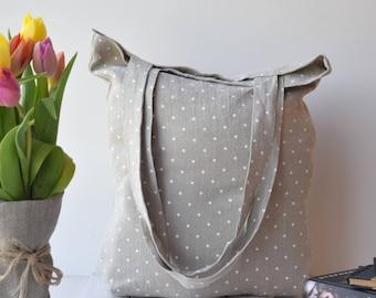Canvas Tote bag, Tote bag canvas, shopp bag, tote bag, sac, Canvas Tote, farmers market bag, beach bag, linen, polka Grey, travel bag