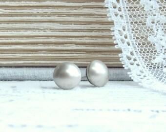 Champagne Pearl Earrings Pearl Post Earrings 8mm Pearl Studs Surgical Steel Studs Pearl Jewelry