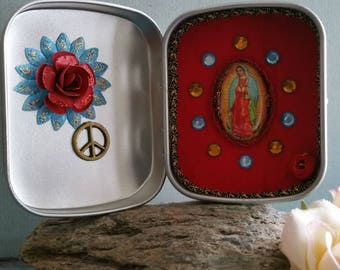 Lady of Guadalupe - altar bottles - red and beautiful!