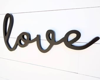 Love Word Cutout | Love wall hanging | Love wood sign | Font A Love sign