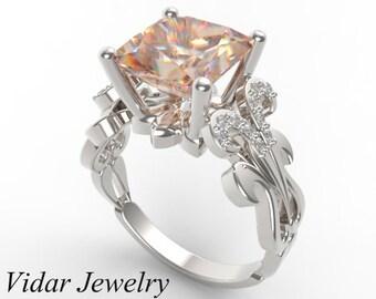 Morganite Engagement Ring,Princess Cut Engagement Ring,Unique Engagement Ring,Diamond Engagement Ring,14k White Gold Engagement Ring,Custom