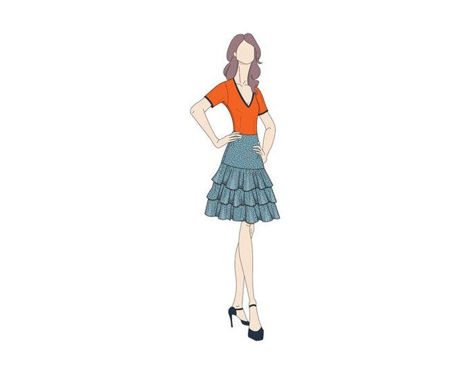Ra-Ra Frilled/Tiered Skirt Sewing Pattern - Sizes 8-22 UK - Download PDF