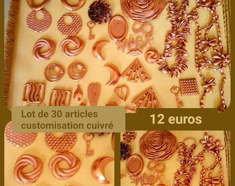 Set of 30 items color copper