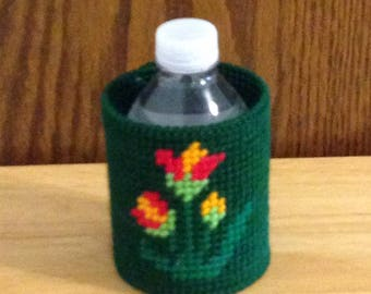 Easter Gift, Flower Can & Bottle Can Cooler, Plastic Canvas, Needlepoint Gift, Gift for Him, beverage insulator, Summer Item, Gift for Her