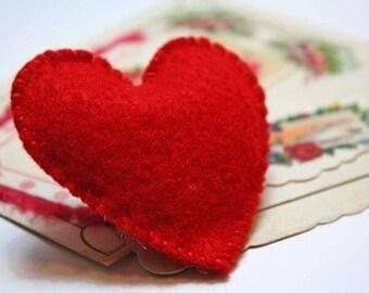 heart brooch red felt