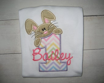 Baby Girls First Birthday Bunny bodysuit, Easter birthday shirt, spring birthday shirt, First Birthday, cake smash,  Easter outfit