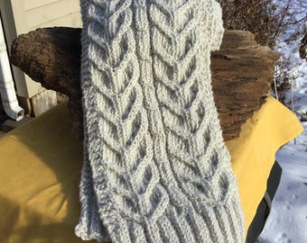 Oatmeal cable knit scarf, natural merino wool cable scarf,  distinctive cable pattern, soft merino wool and alpaca blend for warmth