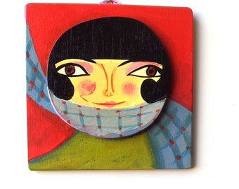 Small wooden painting. Illustrated woman portrait wooden wall decor, layered hand-drawn plywood, one of a kind