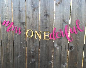 Miss Onederful Banner — Miss ONEderful Banner— Little Miss ONEderful Banner — Miss ONEderful — ONEderful - First birthday -