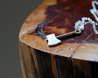 Lumberjack Necklace | Silver Axe Necklace | Cute Woodland Ax Charm Necklace | Forest Wilderness Axe Charm Necklace