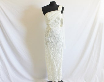 Vintage 90's Ivory Chiffon Lace Wedding Scott Mc Clintock Dress 4