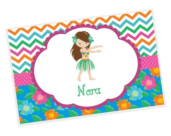 Luau Personalized Placemat - Luau Party Girl Chevron Flower Dots with Name, Customized Laminated Placemat