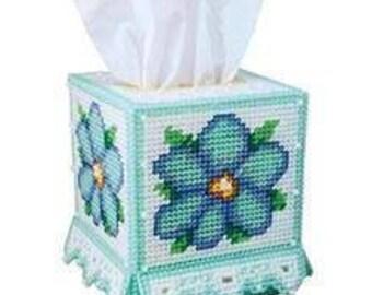 BLUE BEAUTY - Boutique Size Tissue Box Cover - Home Decor - Floral - Summertime