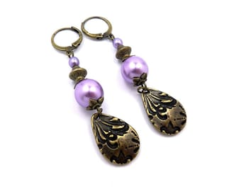 Earrings sleepers bronze Pearlescent purple, glass and brass vintage