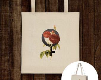 Femme - Venus Symbol Floral Tote Bag - Vintage botanical print, Feminist floral print, Feminist gift, gift for her