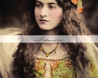 Vintage Tinted Photograph Maude Fearly with Orange Flowers - Digital Download Printable Image - Paper Crafts Scrapbooking Altered Art Image
