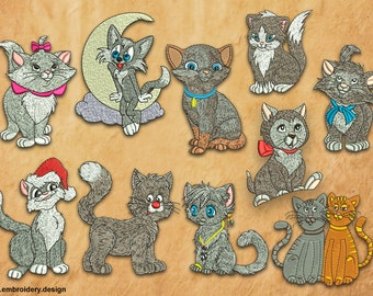 Grey Kittens and Cats embroidery designs pack (collection of 10)